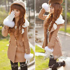 Korean Ladies Long Sleeve Double-breasted Cashmere Winter Parka Long Coat Jacket