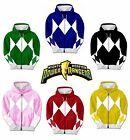 Adult TV Show Mighty Morphin Power Rangers Ranger Costume Hooded Zip Sweatshirt