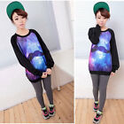 New Women's Ladies Galaxy Space Starry Mustache T-Shirt Jumper Tops Pullover