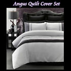 ANGUS Silver Black - Embellished Quilt Cover Set - SINGLE DOUBLE QUEEN KING