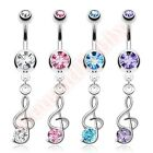 Gem Treble Clef Music Note Belly Button Bar Ring Navel Dangle Body Jewellery