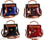 NEW 100% METALLIC PATENT REAL LEATHER SATCHEL CROSS BODY SHOULDER BAG *STUNNING*