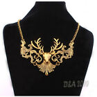 Vintage Women's Fashion Sika deer Hollow Out Metal Chunky Necklace Jewelry