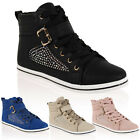 Ladies Sparkly Womens Casual Lace Up Hi Top Design Trainers Pumps Shoes Size 3-8