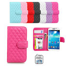 Flip Wallet Case Cover For Samsung Galaxy S4 S5 i9500 4G Soft Leather Lattice
