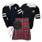 Kilt Outfit 'Sports Essential' - 2-Stripe Rugby Top - Stewart Royal