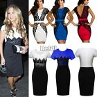 Women Sexy Contrast Lace Evening Bodycon Long Midi Pencil Party Dress 2 Types