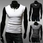US Men's Slim Fit Vest Sexy Tank Tops Elasticity Sleeveless T-Shirt 4 Size XS~L