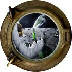 Huge 3D Porthole Moon Landing View Wall Stickers Film Mural Art Decal Wallpaper