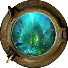 Huge 3D Porthole Fantasy city under sea View Wall Stickers Film Decal Wallpaper