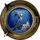 Huge 3D Porthole Fantasy Dolphins Under sea View Wall Stickers Film Art Decal