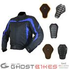 ARMR MOTO MIURA CE BLUE MOTORCYCLE WATERPROOF SHORT JACKET + BACK PROTECTOR