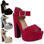 LADIES CHUNKY OPEN TOE WOMENS SUMMER STRAPPY BLOCK HEEL SHOES SANDALS SIZE 5-10