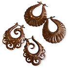 WOOD EARRINGS EARHOOPS COCONUT ORGANIC spiral swirl medieval tribal fake gauge