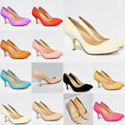 WOMEN'S  LOW MID HEELS PUMPS CONCEALED PLATFORM WORK COURT SHOES UK 2-9 TP1184-1