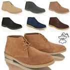 MENS BOYS ANKLE CHUKKA DESERT SUEDE LEATHER LACE COMFORT WORK BOOTS SHOES  SIZE