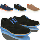 MENS BOYS LEATHER SUEDE LACE UP WORK COMFORT SMART BLACK BROGUE SHOES BOOTS SIZE