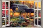 Huge 3D Window Fairy tale Fantasy Cottage View Wall Stickers Film Art Decal