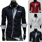 Mens Luxury Casual Slim Fit Stylish Business Dress Shirts Formal T-Shirt tops