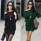 Women Long Sleeve Batwing Zip Shirt Off-Shoulder Skirts Tops Mini Dress TTPK