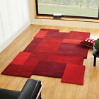 Abstract Collage Deep Red Flair Rugs Modern Funky Luxury Soft Wool Shaped Rug
