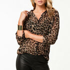 New Fashion Spring And Summer Womens Sexy Wild Leopard Chiffon Shirt Blouse Top