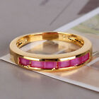 Classic 24k gold filled prinecess ruby July birthstone Journey band ring Sz5-Sz9
