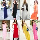 Solid Women Long Maxi Cotton Vest Dress Sleeveless Summer Boho Bottoming Dress