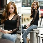 Womes Ladies Korean Sexy Long Sleeve V-Neck Personalized Tops Tee T-Shirt Black