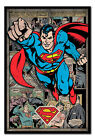 Framed Superman Comic Montage Magnetic Notice Board Includes Magnets