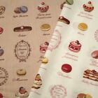 French Bakery Cakes And Deserts Cotton Poplin Fabric
