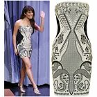 New Womens Ladies Celeb Lea Michele Paisley Print Bodycon Dress Top Size S M L 8