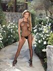 Admcity Seamless Fishnet Open Crotch Bodystocking Halter Neck Black One Size