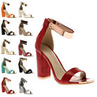 Womens Cuffed Ladies Strappy Peep Toe Evening Block High Heel Sandals Size 4-9