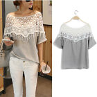 Fashion Women Crochet lace t-shirts batwing sleeve blouse hollow out tops tees