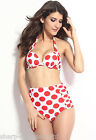 Ladies Red White Spotted Underwired Halterneck High Waisted Shorts Bikini Set