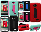 LG Optimus L70 IMPACT Hard Rubber Case Phone Cover Kickstand Accessory