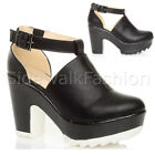 WOMENS LADIES CUT OUT CHUNKY CLEATED GRUNGE PLATFORM HIGH HEEL SHOE BOOTS SIZE