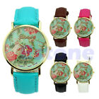 Candy Color Women Geneva Lotus Floral Quartz Analog Style Wrist Band Watch