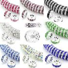 100 Rondelle Silver Spacer Beads Czech Crystal Rhinestone 5mm 6mm 8mm 10mm 12mm