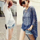 New Women Sexy Hollow Pullover Blouse Short Sleeve Tops Shirts Loose Beach Dress