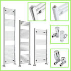 Bathroom Central Heating White or Chrome Towel Warmer Rail Radiator With Valves