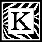 "Zebra Print Initial K - 3.75"" x 3.75"" - Choose Color - Vinyl Decal Sticker #3299"