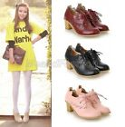 Womens Ladies Round Toe Lace Up Block Mid Heel Oxford Brogue Lolita Shoes 8-1