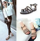 Ladies Genuine Leather Toe Ring Metal Chain Strappy Gladiator Sandals Shoes V19