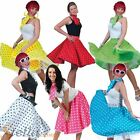Ladies Polka Dot Rock N Roll Skirt & Scarf 50s 60s Fancy Dress Costume