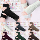 Women Winter Warm Wool Knit Knitted Fingerless Gloves Mitten Hand Wrist Warmer