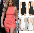 Womens Lady Sleeveless Sexy Asym Hem Open Cutout Back Slim Fit Short Party Dress