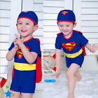 Woo Superman Kids Boys Girl Swimsuit+Hat Outfit Sets Detachable Cape Swimwear