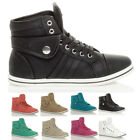 WOMENS LADIES GIRLS FLAT LACE UP SPORTS HIGH HI TOP PUMPS TRAINERS SHOES SIZE